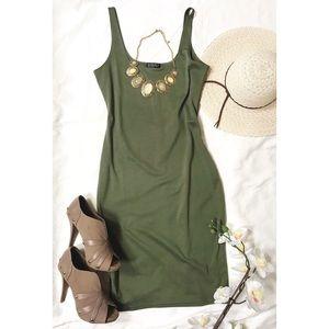 COTTON ON Scoop-Neck Hunter Green Sleeveless Dress
